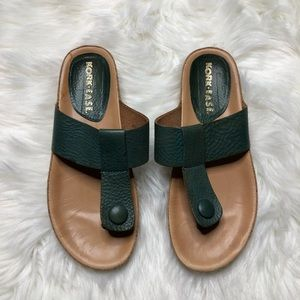 24b94792ab9 Kork-Ease Forest Green Leather T Strap Sandals